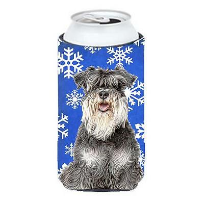 Winter Snowflakes Holiday Schnauzer Tall Boy bottle sleeve Hugger