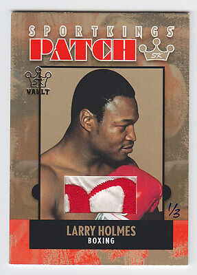 2015 SPORTKINGS VAULT 2007 LARRY HOLMES PATCH ROBE GAME USED 1/3 Tyson Boxing