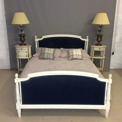 French painted and upholstered double bed      Ref c1168