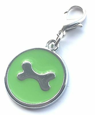 Personalised Engraved Green Enamel Bone Pet ID Tag + Clip *Special Offer*