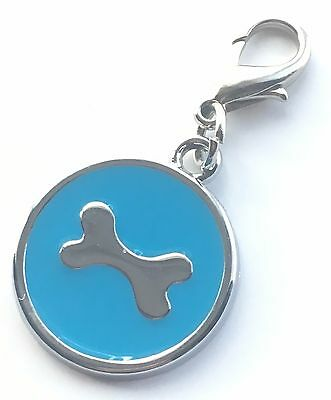 Personalised Engraved Blue Enamel Bone Pet ID Tag + Clip *Special Offer*