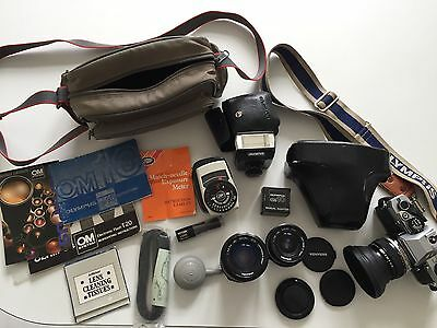 Olympus OM10 Camera With 2 Lenses And Accessories