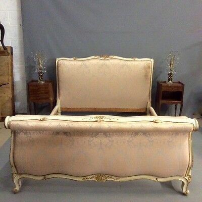 """French paint and gilt """"scroll"""" end kingsize bed        Ref a14352"""