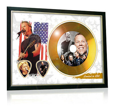 James Hetfield Metallica Flag Style Signed Gold Disc Display