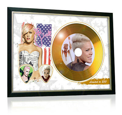 P!nk Flag Style Signed Gold Disc Display