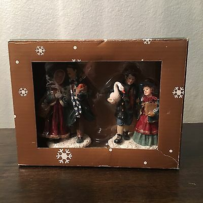Mervyns Village Square Christmas Figurines Shopping Family 2001 New In Box