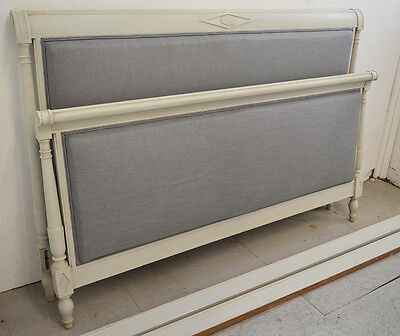 Antique Painted French King size Directoire style Bedstead Carved wood detail