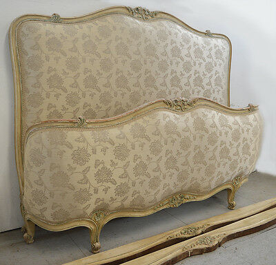 "French 4'6"" Louis XV style Upholstered Bedstead Carved detail"