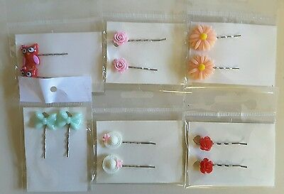 Wholesale joblot hair accessories 6 pairs hair slides, grips brand new (pack D)