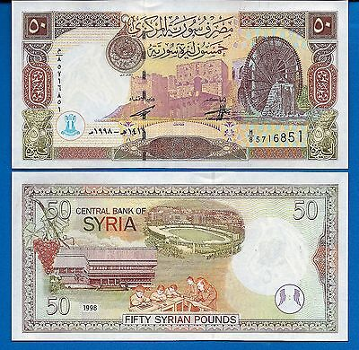 Syria P-107 50 Pounds Year 1998 Uncirculated FREE SHIPPING
