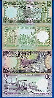 Syria 5 & 10 Pounds Year 1991 Uncirculated Set # 4 FREE SHIPPING