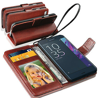New Rich Luxury Magnetic Leather Wallet Flip Case Cover For Sony Xperia XZ
