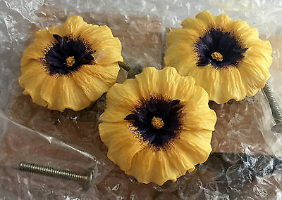Lot 3 Vintage AVON Figural Drawer Pull Pansy Gift Collection Sunflower Knob