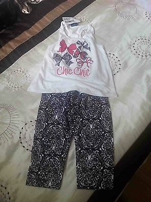 Girl's 2 pieces leggings and sleeveless top, 3 years, black and white