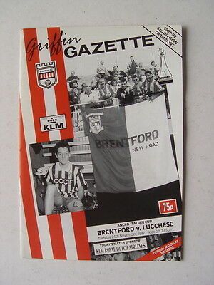 Brentford v Lucchese 1992/93 Anglo Italian Cup