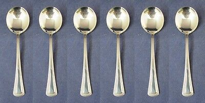 SET OF SIX - Oneida Stainless NEEDLEPOINT Round Soup Spoons USA