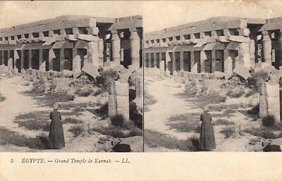 Carte postale stéréoscopique EGYPTE EGYPT 5 LL KARNAK grand temple