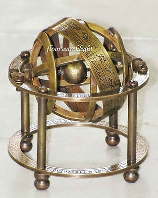 """Engraved Solid Brass Tabletop Armillary Nautical Decor 3.5"""" Zodiac Sphere Globes"""