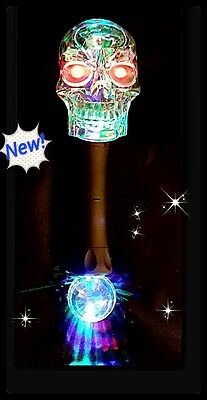 Light Up Flashing Skull Wand With Prism Ball - Great for people with autism
