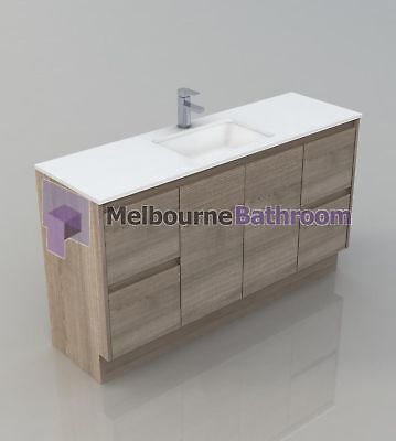 Melbourne 1500Mm Wooden Bathroom Vanity Single Stone Top Undermount Basin (Bv16)