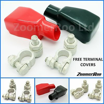 Battery Terminal Clamps Hex Nut Positive & Negative With Covers - Heavy duty