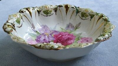 Weimar Germany Large Serving Bowl Floral with Pink Roses