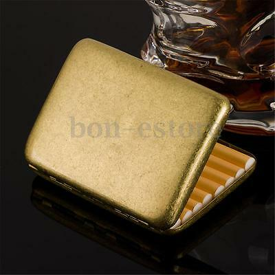 Brass Vintage Pocket Men Cigarette Tobacco Case Box Storage Holds 16 Cigarettes