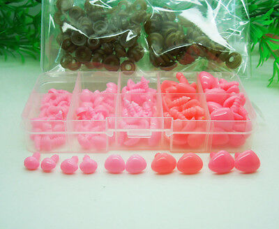 1Box 5size Pink Plastic Safety Nose Triangle For Doll Animal Puppet Making