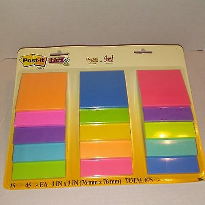 Post-it Notes Super Sticky Electric Glow & Jewel Pop Collection 675 Sheets - NEW