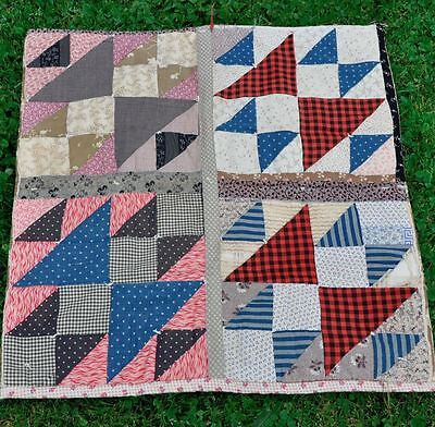 1930s SWEET DOUBLE X PATTERN DOLL/CRIB SIZE ANTIQUE VINTAGE QUILT – 19thc BLOCKS