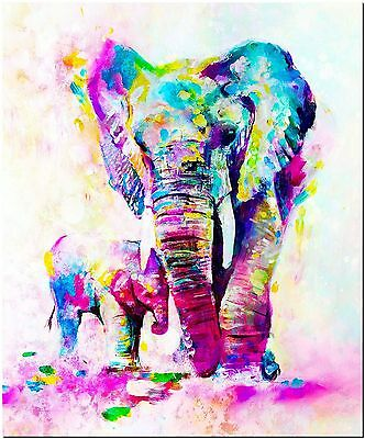 "Beautiful Elephant and Baby High Quality Canvas Print Poster 24X18"" Watercolor"