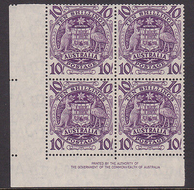 1949-50 10/- Purple  Coat Of Arms Authority Imprint  Block Of Four Stamps Muh