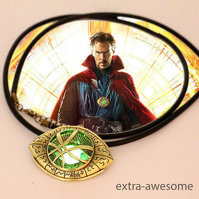 Dr Doctor Strange Pendant Eye of Agamotto GLOW IN THE DARK Necklace AmuletMarvel