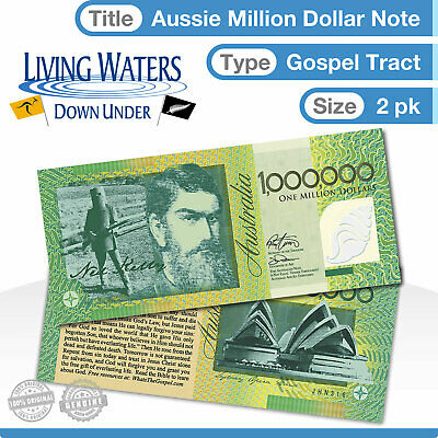 2 x Australian $1 Million Dollar Note Gospel Tract - Novelty Currency Money