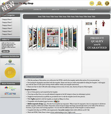 eBay Listing Template Mobile Responsive Layout Change No Active Content - MR1D
