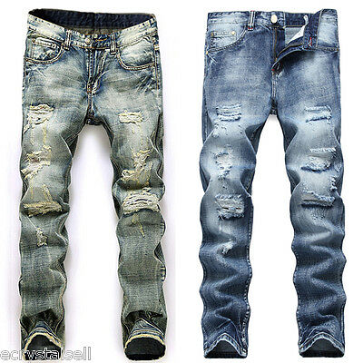Mens Designer Ripped Jeans Trousers Stretch Skinny Slim Fit Pants Casual Bottoms