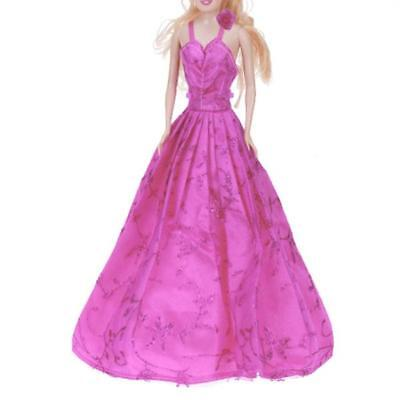 Shocking Pink flower Princess Evening party Gown Dress Clothes for Barbie Doll
