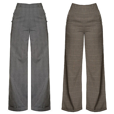 Dancing Days Check 1940s Retro Vintage Swing Trousers Wide Leg High Waist Slacks