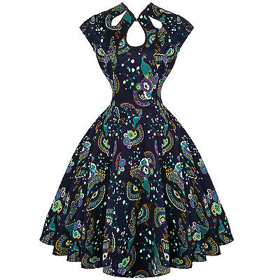 Dancing Days Blue Peacock Vintage 1950s Retro Pinup Party Prom Swing Dress UK