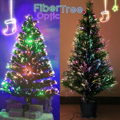 Luxury Green Deluxe Fiber Optic Christmas Tree Multicolor Traditional 3/4/5/6Ft