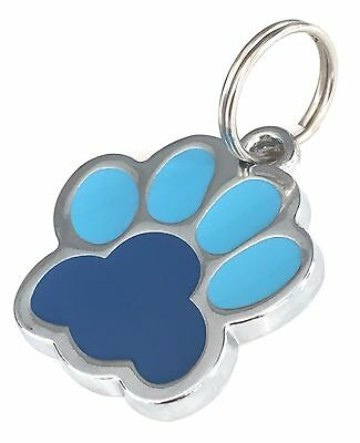 Personalised Engraved Blue Enamel Paw Print Dog/Cat Pet ID Tag