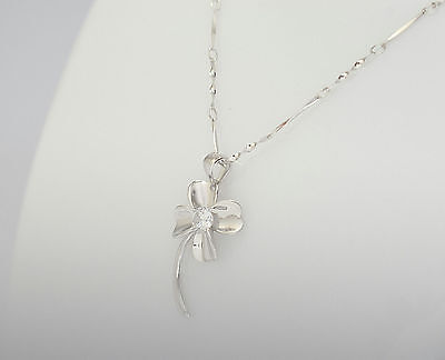 Women's Neckless with flower pendant - SOLID 925 sterling silver
