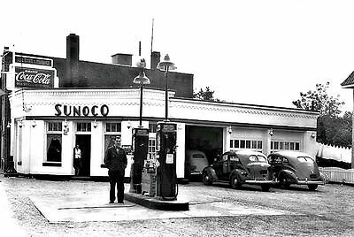 Sunoco Gas Station Service Owner 40's Cars Coca-Cola Sign