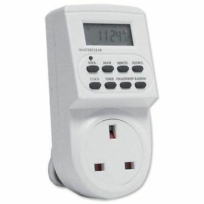 7 Day Digital Lcd Display Electric Plug-In Programable 12/24 Hour Timer Switch