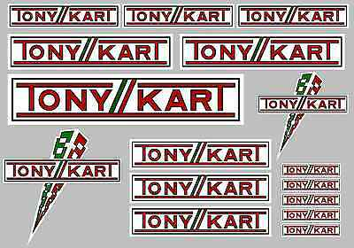 TONYKART STICKER SETS - A4 SHEET OF 16 STICKERS - Printed & Laminated - Karting