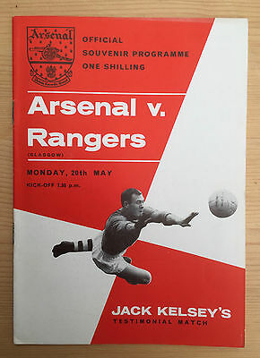Programme For Jack Kelsey Testimonial : Arsenal v. Glasgow Rangers May 1963 VGC