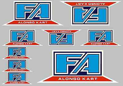 FA ALONSO STICKER SETS - A4 SHEET OF 9 STICKERS - Printed & Laminated - Karting