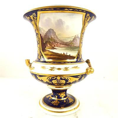 C1830 ANTIQUE BLOOR DERBY PORCELAIN CAMPANA VASE VIEW IN ITALY f