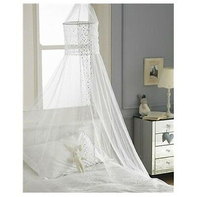 Popsicle White Sequined Voile Bed Canopy Curtain Mosquito Mesh Net Netting Dome