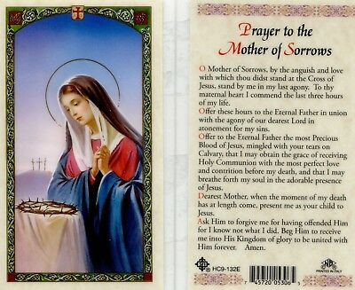 Prayer to the Mother of Sorrow Catholic Laminated Prayer Holy Cards HC9-132E